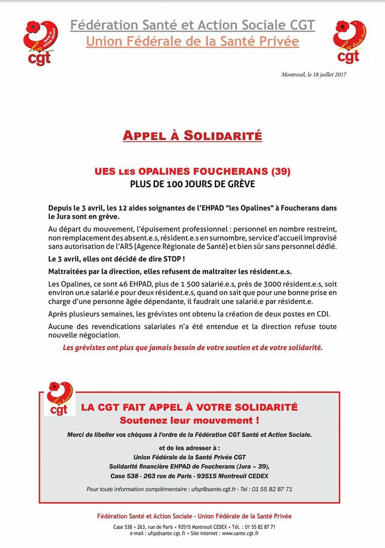 Appel à solidarité pour les salarié-es des Opalines à Foucherans, + de 116 jours de grève.....