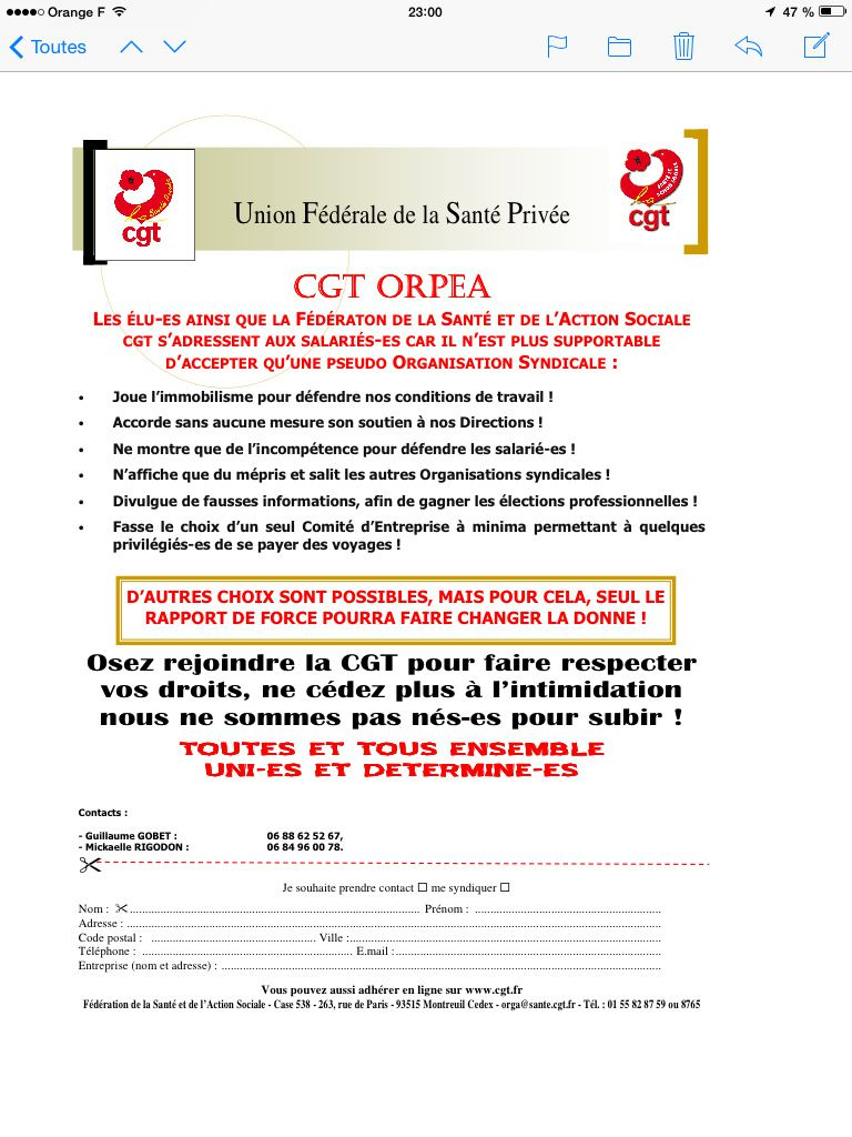 Tract CGT Orpea.