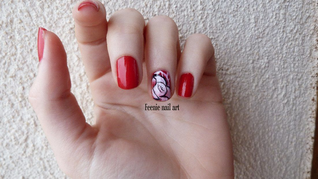 Rose One stroke en Accent nail