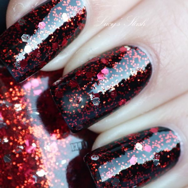 Deborah Lippmann Ruby Red Slippers Polish Except In Dl Are All Glitters No Silver Ones I Personally Like This Mani With Getting Miss Piggy