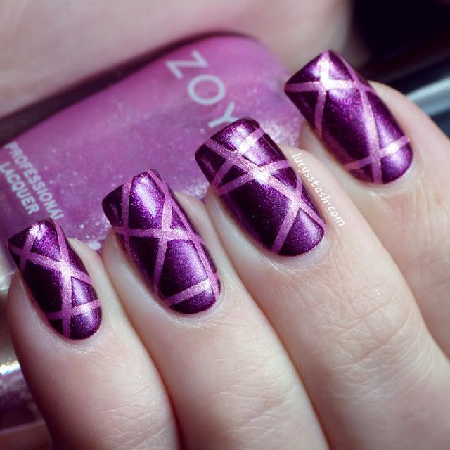 Purple Nail Designs For Prom: Purple Laser Tape Manicure With Zoya Carly And Rory