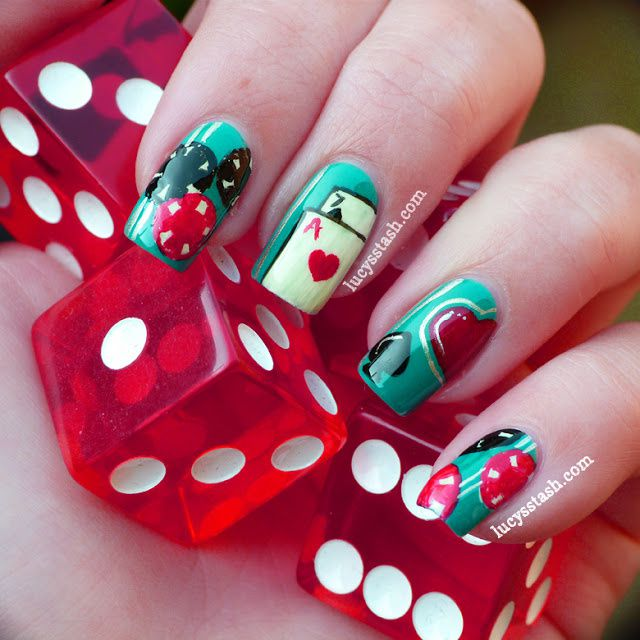 Casino Themed Nail Art Featuring Opi A England And Nails Inc