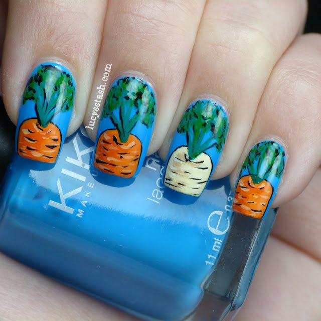 Gardening nail art manicure with carrots and parsnip feat KIKO 295