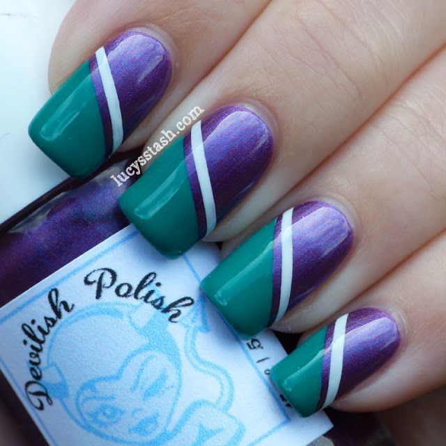 Wimbledon nail art tape manicure featuring KIKO and OPI