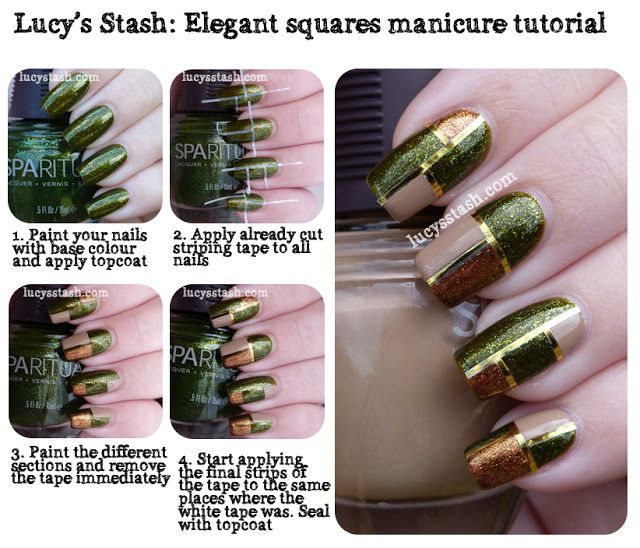 Elegant Squares Manicure Tutorial featuring SpaRitual Optical Illusion, Conduit and Back To Your Roots