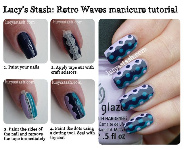 Lucy's Stash: Retro Waves manicure with tutorial