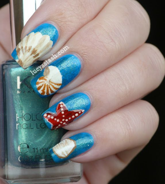 Painting Seashells With Nail Polish: Nail Polish Designs: Fish Themed Acrylic Nails