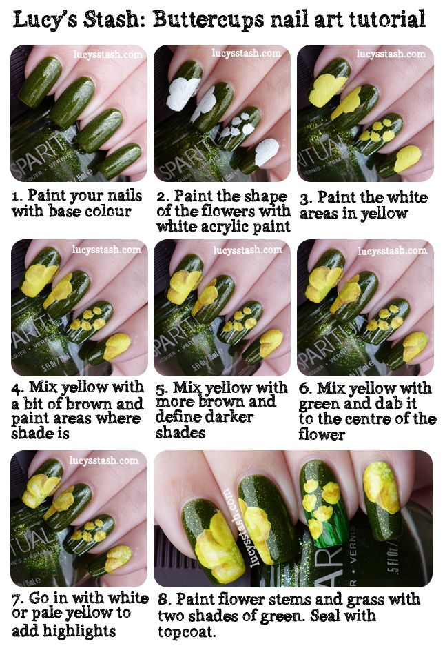 Buttercups Nail Art Manicure With Tutorial Featuring Sparitual