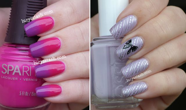 Two Nail Art Manicures Featuring Sparitual A England And Essie