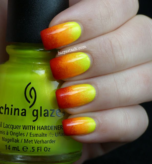Lucy's Stash - Three-tone Sunset gradient manicure