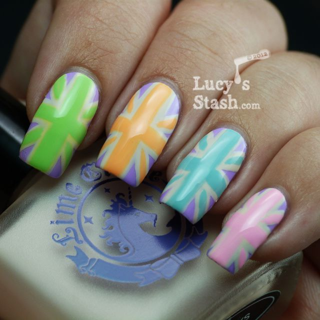 Lucy's Stash-Pastel Union Jacks nail art manicure