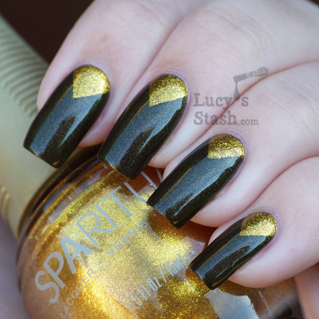 Lucy's Stash - SpaRitual chevron manicure with Lithophonic and Aurum