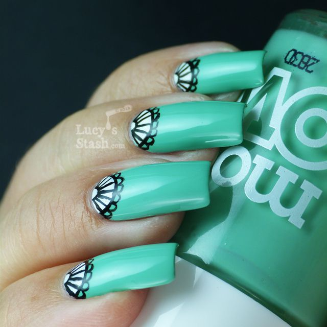 Lucy's Stash - Half-moon nail art manicure with Models Own Jade Stone