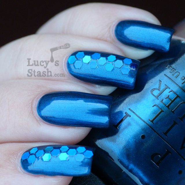 Lucy's Stash - Unfor-Greta-bly Blue in blue glitter nail art manicure