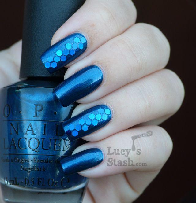 Opi Unfor Greta Bly Blue In Blue Glitter Nail Art Manicure Lucys