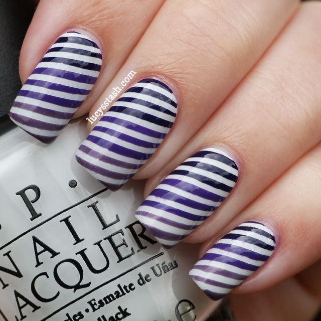 Gradient Purple Stripes Nail Art With Video Tutorial Lucys Stash