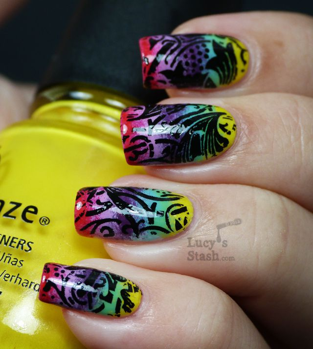 Lucy's Stash - Rainbow gradient nails decorated with black foil lace