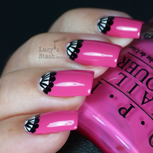 Lucy's Stash - hot pink half-moon manicure