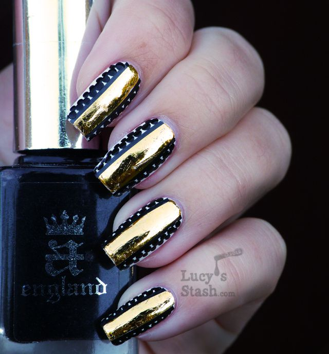 Lucy's Stash - Gold foil stripe & dots nail art manicure