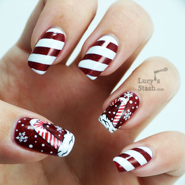 Candy Cane Holiday Manicure And Nail Art Competition Entry Lucys