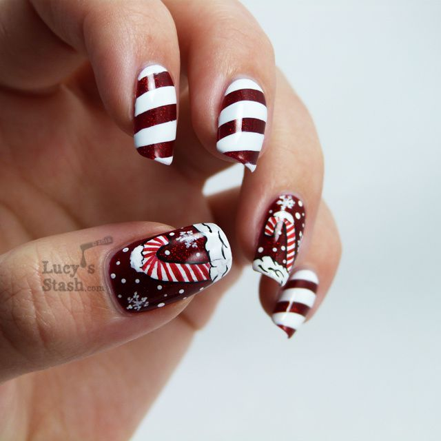 Candy cane holiday manicure and nail art competition entry i have entered this manicure into a nail art contest over at tanejas bride page so if you like it please give me your vote by simply liking the picture prinsesfo Choice Image