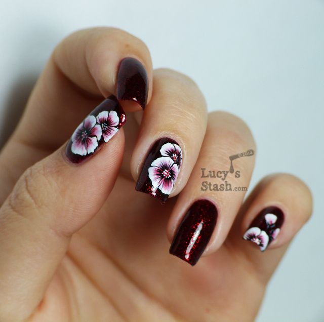 One Stroke Nail Art Flowers Over Shimmer Marylin Lucy S Stash