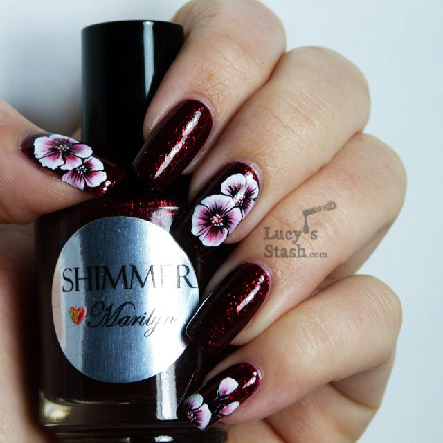 One Stroke Nail Art Flowers Over Shimmer Marylin Lucys Stash