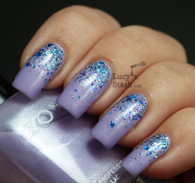 Glitter gradient nail art with Zoya Julie and Shimmer Polish Kim ...