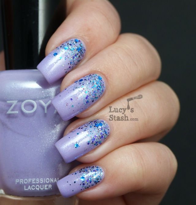 Glitter gradient nail art with Zoya Julie and Shimmer ...