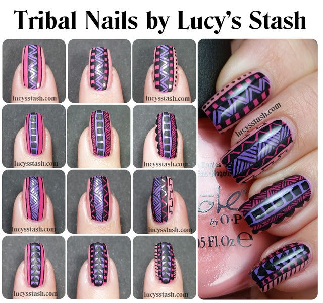 Tribal Print Nail Art featuring Nicole by OPI Selena Gomez ...