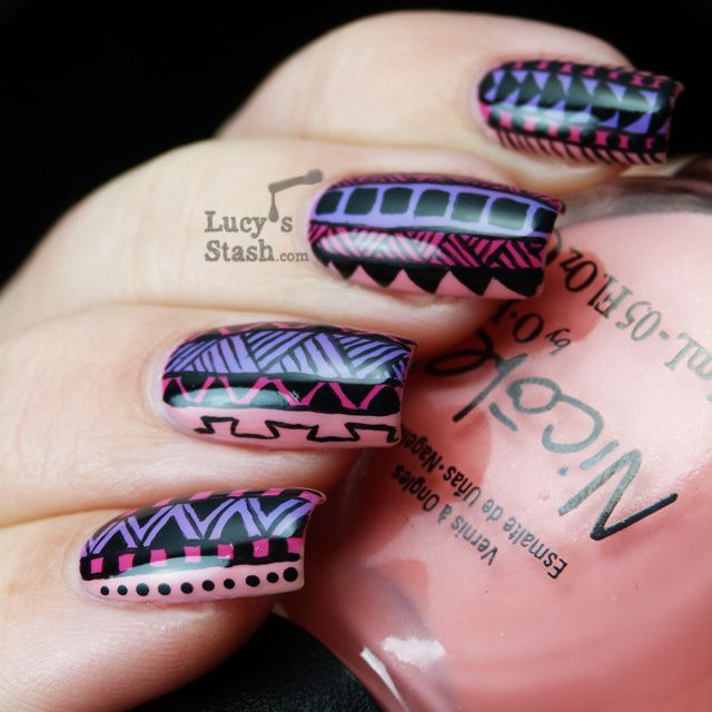 Tribal Print Nail Art featuring Nicole by OPI Selena Gomez polishes ...
