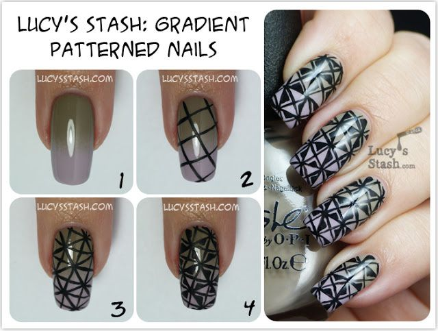 Lucy's Stash - Patterned gradient nails tutorial
