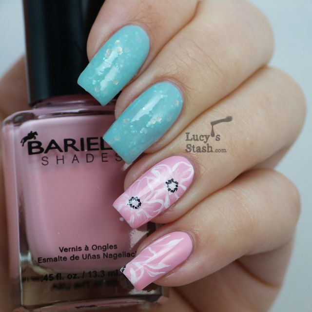 Floral nail art feat. Delush polish and Barielle Pink and Quartz ...