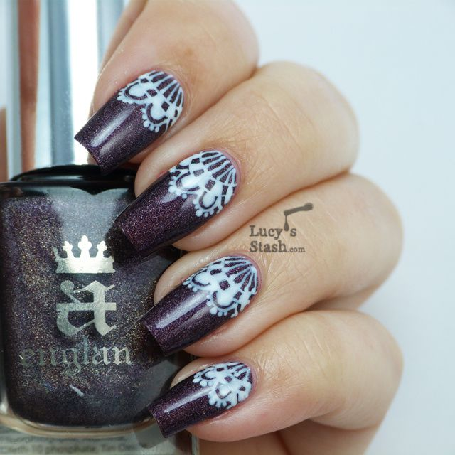 Lucy's Stash - White Lace Nail Art over A England Sleeping Palace