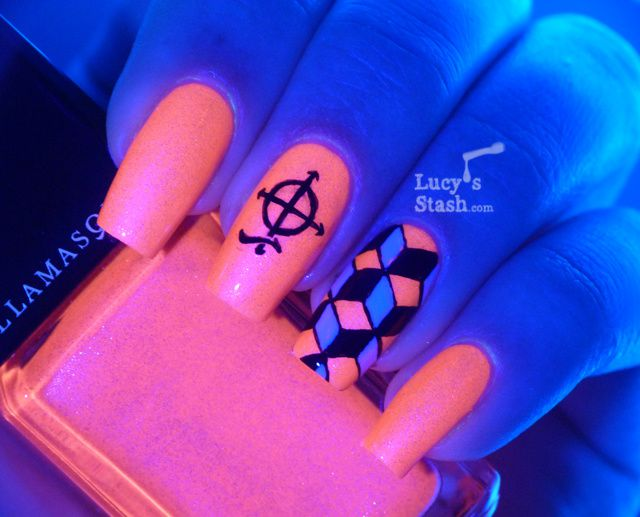 Lucy's Stash - Cube Nail art over Illamasqua Ouija, UV glowing nail polish