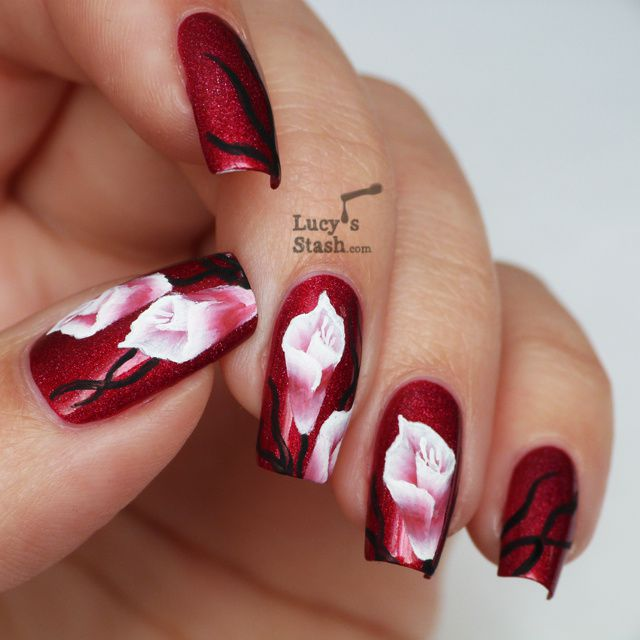 One Stroke Nail Art Flowers Over A England Rose Bower