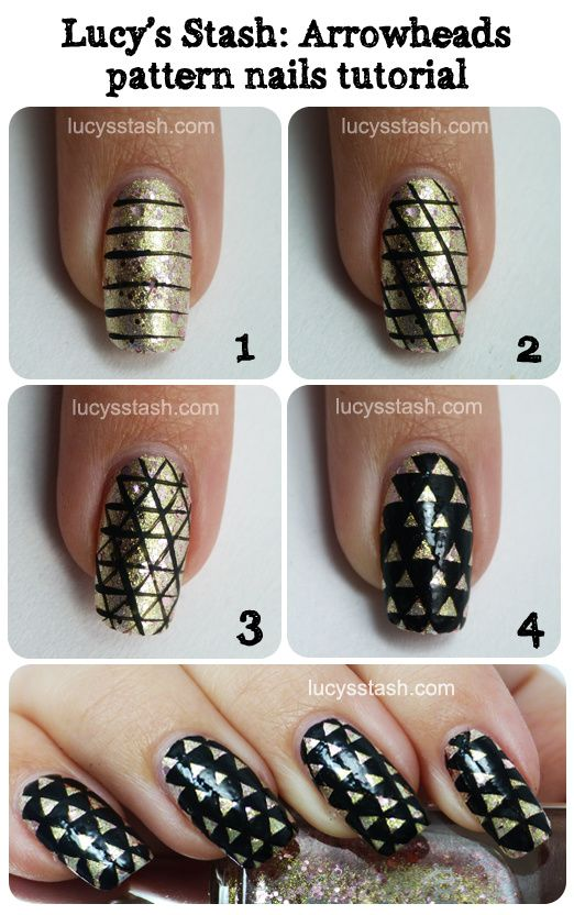 Lucy's Stash - Arrowheads pattern nail art tutorial