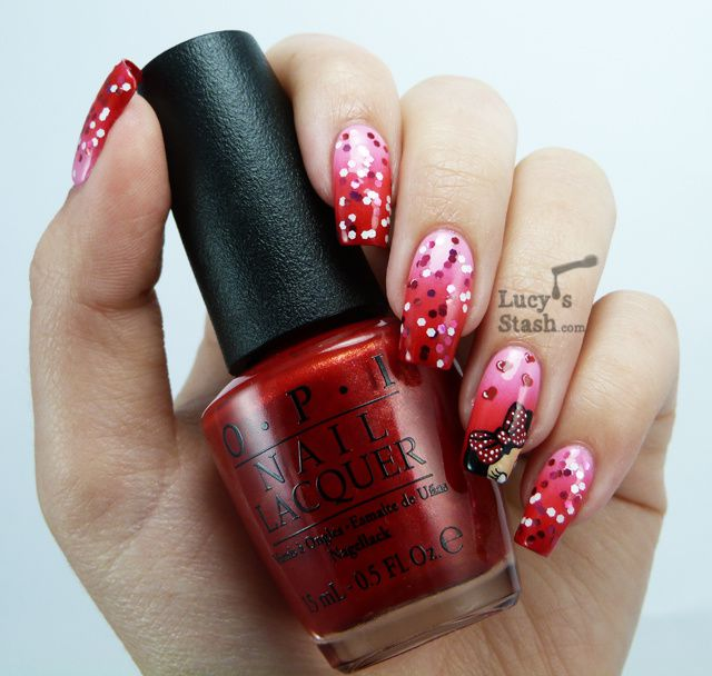 Opi Couture De Minnie Nail Art My Minnie Mouse Design Lucys Stash