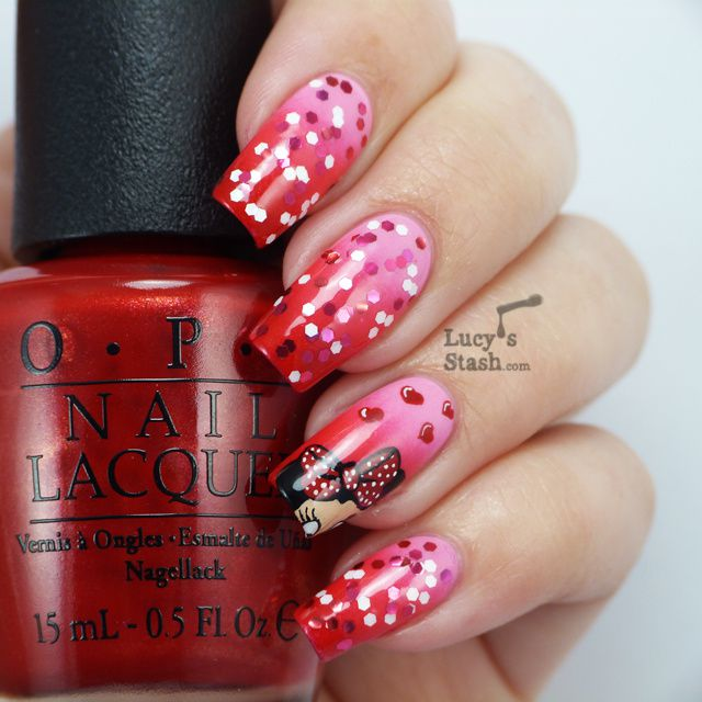 OPI Couture de Minnie Nail Art - My Minnie Mouse design - Lucy\'s Stash