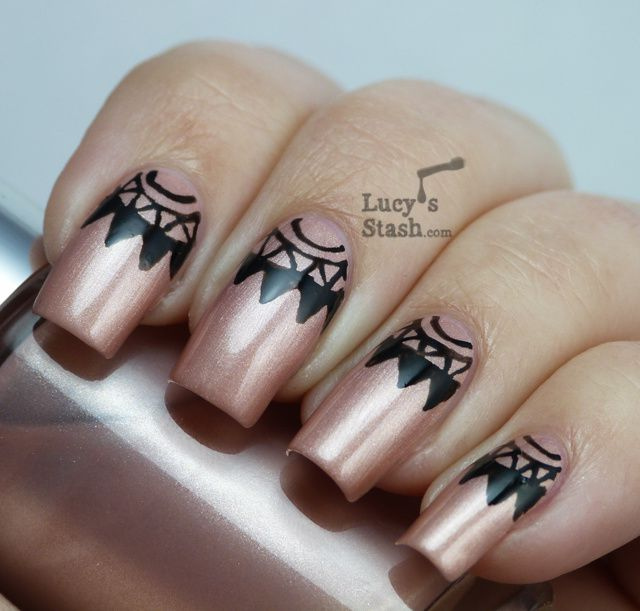 Nail Art Half Moons With Barry M Nail Art Pen Black And Clinique