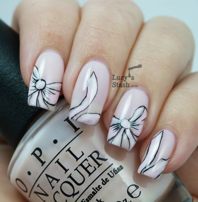 Bridal Pink Bow Nail Art With Tutorial Lucys Stash
