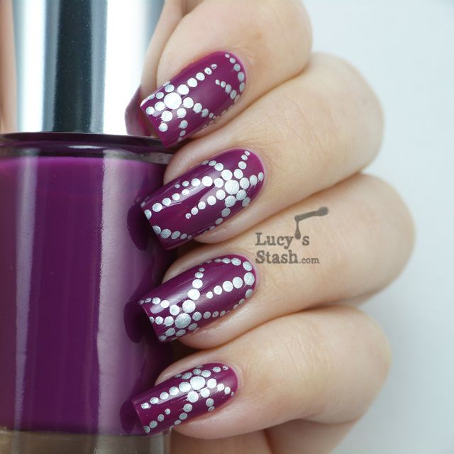 Lucy's Stash - Dotted starfish nail art over Clinique Hot Date