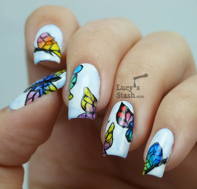 Lucy's Stash - Watercolour (aquarelle) butterflies nail art