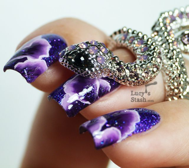 One Stroke Abstract Purple Petals with Tutorial feat Talullah Tu Misha Lilac Crystal Snake Ring