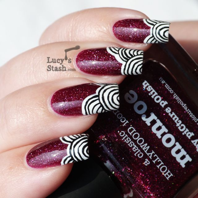 Patterned Nail Art design over piCture pOlish Monroe + Tutorial