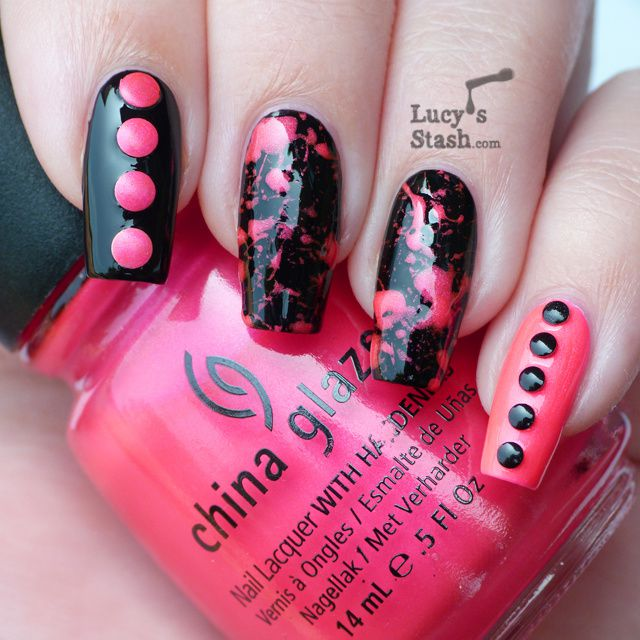 Neon Pink and Black splatter nail art