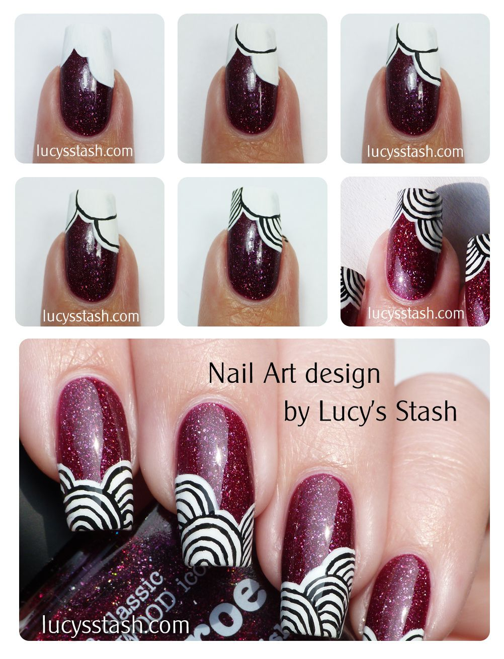 Patterned Nail Art Design Over PiCture POlish Monroe