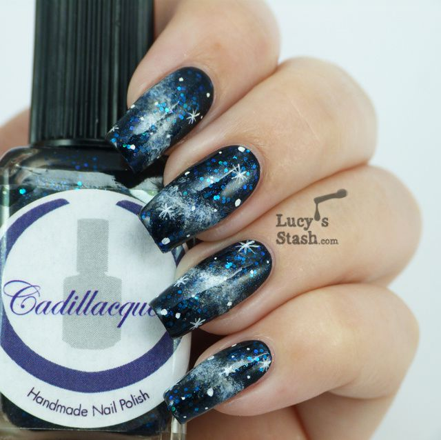 Simple Galaxy Nails Nail Art over Cadillacquer Echo