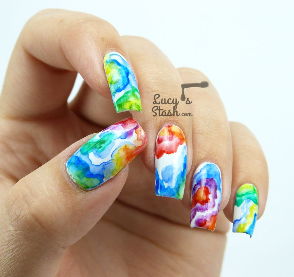 Rainbow Watercolour Nail Art