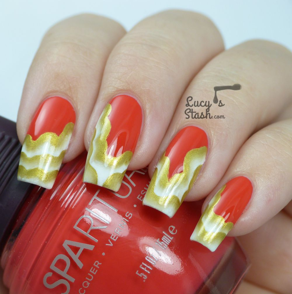 Golden Veil - One Stroke Nail Art Design over SpaRitual Last Tango